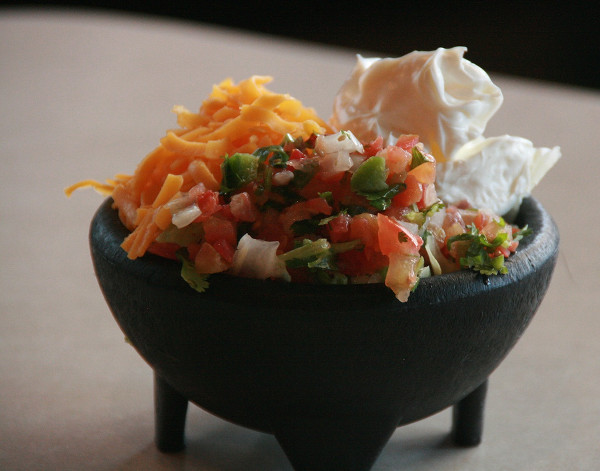 Pico de gallo with cheese and sour cream